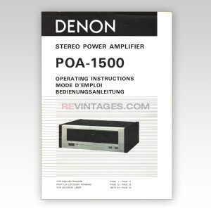 04 Denon POA-1500 Operating Instructions