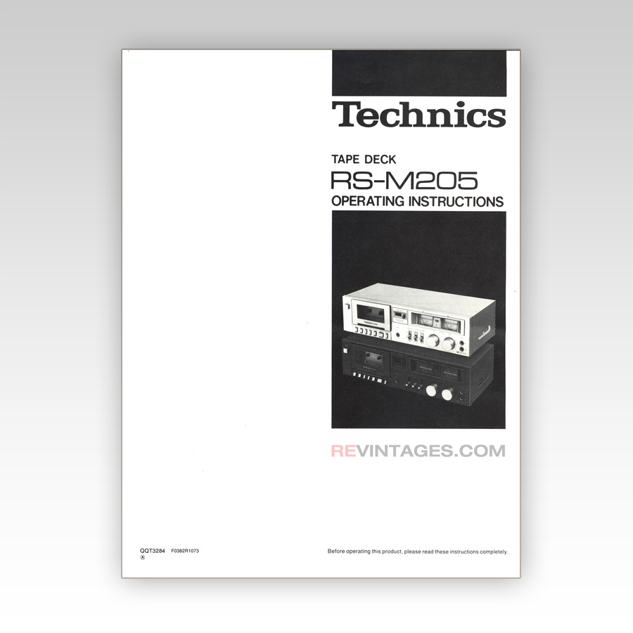 TECHNICS RS-M205 TAPE DECK MANUAL (ENGLISH) | REVINTAGES